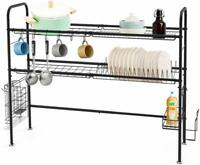 2 Tier Large Stainless Steel Dish Drying Rack Kitchen Counter Drainer Over Sink