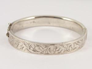"Vintage Hinged Bangle Sterling Silver Ladies Bracelet 7"" 925 14.9g Ka17"