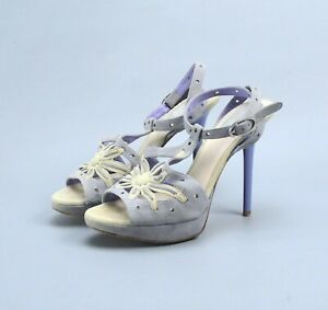 Christian Dior DIOR Suede Floral Sun Heels Sandals 36 US6 Made in Italy