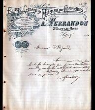 """SAINT-ELOY-les-MINES (63) MATERIAUX , SCIERIE & MENUISERIE """"A. FERRANDON"""" 1911"""