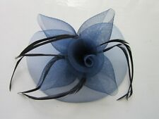 ROYAL BLUE Fascinator | Sinamay Net | Feathers | Wedding Prom Races (69A)