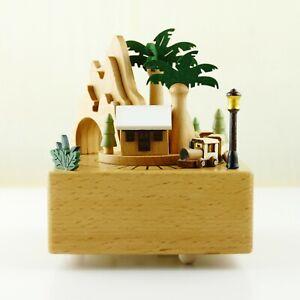 Spieldose mitMagnetzug,Hölzerne Spieluhr mit baumBerg,Weihnachten Geschenk