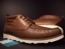 WESC GILLIAM BOAT SHOES COGNAC BROWN OFF-WHITE VIBRAM SOLES B405973821 DS NEW 10