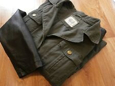 WOMENS NEW LOOK FASHION ARMY JACKET KHAKI COTTON  FAUX LEATHER SLEEVES SIZE 22