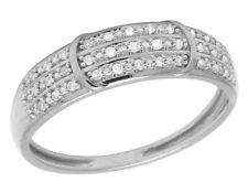 Ladies 10K White Gold Real Diamond Three Row Fashion Band Ring .10CT 5MM