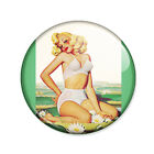 Badge PIN UP BLONDE retro pinup sexy glamour vintage 50's rockabilly pins Ø25mm