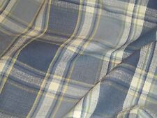 Kravet BLUE Shades Plaid Off White Yellow Home Decor Drapery Sewing Fabric BTY
