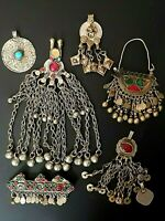 Antique Afghan Kuchi Tribal Middle East Jewelry lot clips earring pendant 6 pcs