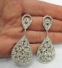 Silver Plated Crystal Costume Earrings