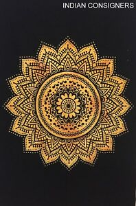 Ombre Mandala Flower Yellow Cotton Small Hippie Tapestry Textile Poster Wall Art