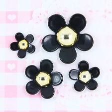 4 x Black & Gold Daisy Flower Cabochons Decoden Embellishments Craft Kawaii