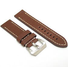22mm Handmade Dark Brown Cowhide Leather Watch Band Strap with Pre-V Buckle