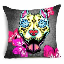 "SUGAR SKULL CUSHION COVER 17"" Day of the Dead DOG Grey Pink Blue WHITE PIT BULL"