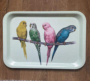 H&M HOME GREEN KITCHEN TRAY WITH BIRD PATTERN