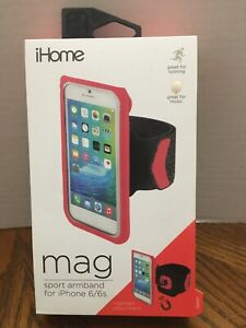 iHome Mag Sport Armband iPhone 6 / 6s Magnetic Attachment Running Black Pink NEW