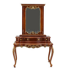 Doll furniture miniature 1/6 scale luxury Hand carved wood Dressing table mirror