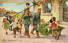 """AK Militaria 1915 Karikatur """"Wir Barbaren"""" - Heimkehr vom Felde  Soldaten Kinder"""