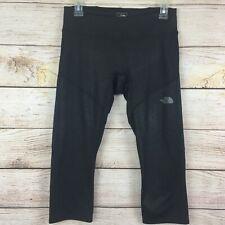 North Face Sparkly Black Cropped Leggings Mesh Detail Sz Medium Disco Glitter