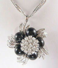 Black Agate Crystal Flower White Gold Plated Pendant & Necklace