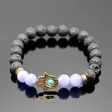 Fashion Men's Black Handmade Lava Stone Matte Beaded Gold Palm Charm Bracelet