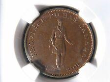 LC-8A1 NGC MS-62 Halfpenny token Un sou 1837 Lower Canada City Bank Breton 522