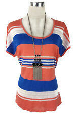 SUSSAN Top - Short Sleeve Stretch Knit Tshirt Striped Peach/Blue/White Lurex - S