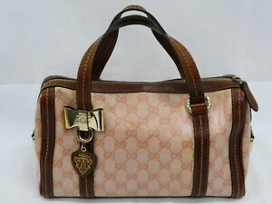 Auth GUCCI GG Supreme Handbag Pink/Brown/Gold Coated Canvas/Leather - AUC0074