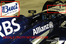 "decal Williams FW27 ""alcohol"" webber heidfeld pizzonia 1/18 F1 Hotwheels"
