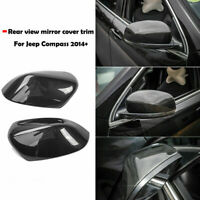 Carbon Fiber Rear View Side Mirror Cap Cover Trim For Jeep Cherokee 2014-2019