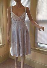 Calvin Klein Pale Blue White Cross Back dress romantic fit & flare Sz 12 L EUC