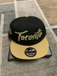 TORONTO RAPTORS Basketball 9FIFTY New Era SNAPBACK Hat NBA Black Gold Cap - OSFM