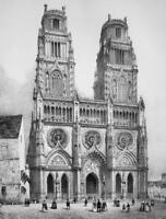FRANCE Orleans Main Square & Cathedral - SUPERB 1843 Antique Print