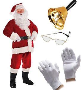 Premium Santa Claus Costume Father Christmas Grotto Suit Men Fancy Dress Outfit