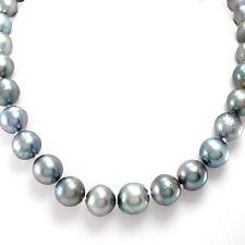 Perlencollier - 14K Weißgold - Länge 40cm - 32 Perlen Ø 9,5 mm-12,8mm -  68,2 g