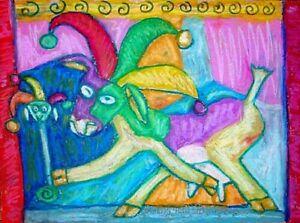 Anudder Jester Goat art PRINT wall art 4x6 modern folk Collectible