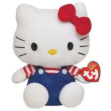Peluche Hello Kitty con Mono Azul - Original Marca Ty Sanrio Juguete Niños Kity