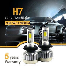 Pair H7 980W 147000LM Car LED Headlight Bulbs Conversion COB kit 6000K White