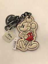 Coach x Disney Mickey Mouse Leather Bag Charm Chain Fob: White (JB20)