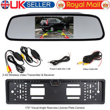 "Wireless 4.3"" Rear View Monitor IR Car Reversing Backup Number Plate Camera Kit"