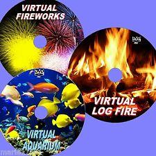 Relaxing virtuel aquarium, Log Fire & FEUX D'Artifice 3 DVD for plat TVS NEUF