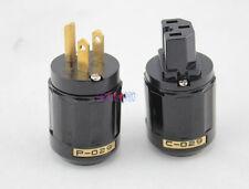 NEW 1 Pair C-029 IEC Connector + P-029 US Power Plug for Audio  Black