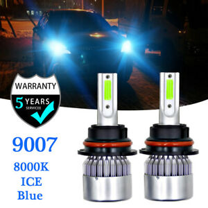 2Side+CANBUS 9007 HB5 COB LED Headlight Kit 16000LM Hi-Lo Beam Bulbs 8000K Bule