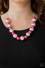 Paparazzi Jewelry pink beads dramatic silver beads Necklace w/earrings