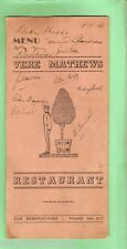 #D8. VERE MATHEWS  RESTAURANT, SYDNEY,  ORIGINAL 1946 MENU