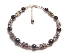 Sterling silver Hematite celtic bracelet knotwork Haematite gemstone gem stone