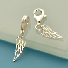 1 x Small Angel Wing Clip On Charm - Solid 925 Sterling Silver