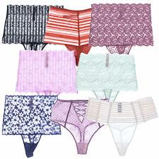 Victoria's Secret Calzones Tanga cintura alta Floral Encaje Patrón Panty LaCie Nuevo