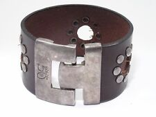 UNO de 50 SILVER COATED WIDE STUDDED LEATHER BANGLE BRACELET