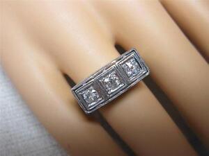 56CT Anneau Fiançailles Diamant Mariage 18K Ancien 1910 Belle Époque Edouardien