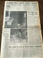 1971 1972 Los Angeles Lakers NBA Champs LA Times Newspaper Wilt Chamberlain West